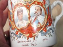 ANTIQUE MUG CORONATION 1902 KING EDWARD VII QUEEN ALEX GRIMWADES STOKE UNDER HAM
